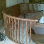 Once the nosings were fixed in place, the oak balustrading which had already been fabricated at Mayford Joinery could be positioned and fixed into place above  the nosing.