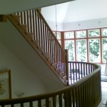 Oak cut-string staircases - view from first floor