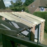 Common rafters with spaces for velux's