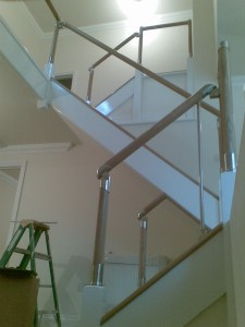 Softwood & MDF staircase with Oak & Chrome handrail - West Sussex