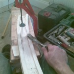 Carving the groove for the spindles into the baserail