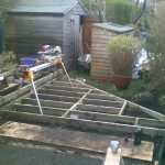 Second section completed, leveled, supported and noggined