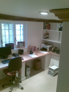 The converted office, with new worktops and bookcases