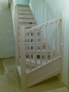 Bespoke Pine Winding Open-tread staircase - Guildford, Surrey