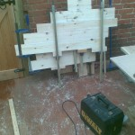 Gluing pine treads together