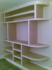 Built-in Fitted Bookcase and Media Centre